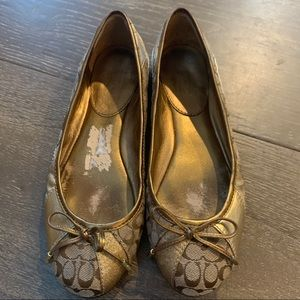 Coach Gold Monogram Ariell Flats 7 Slip on Shoes